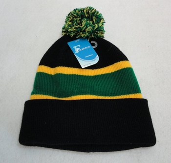Online Get Cheap Winter Hats Men Women Children -WN909-17. Double-Layer Knitted Hat with PomPom [Black Green Gold]