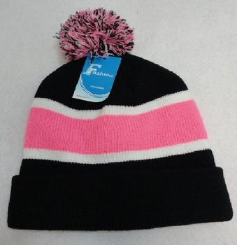 Online Get Cheap Winter Hats Men Women Children -WN909-4. Double-Layer Knitted Hat with PomPom [Black White Pink]