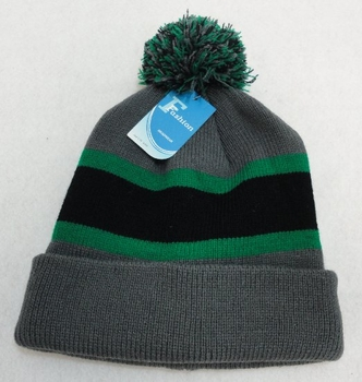 Online Get Cheap Winter Hats Men Women Children -WN909-5. Double-Layer Knitted Hat with PomPom [Black Green Gray]