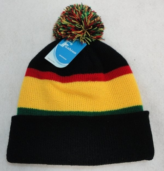 Online Get Cheap Winter Hats Men Women Children -WN909-6. Double-Layer Knitted Hat with PomPom [Black Red Yellow Green]