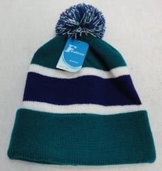 Online Get Cheap Winter Hats Men Women Children -WN909-7. Double-Layer Knitted Hat with PomPom [Teal Purple]