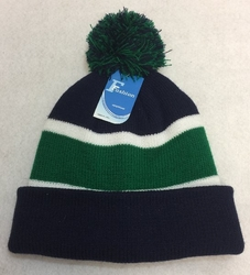 Wholesale, Winter Clothing, Women�s Men's Winter Apparel - WN909-8. Double-Layer Knitted Hat with PomPom [Navy Green]