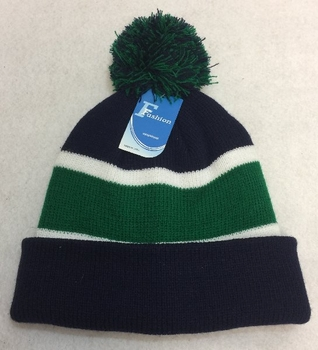 Wholesale, Winter Clothing, Women's Men's Winter Apparel - WN909-8. Double-Layer Knitted Hat with PomPom [Navy Green]