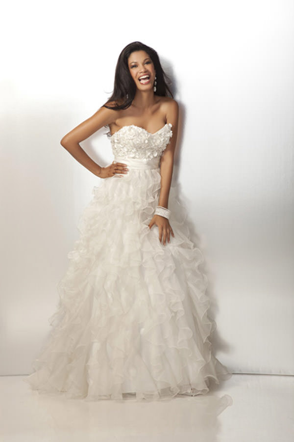 Organza Ivory Prom Gown with Beaded Bodice and Ruffle Skirt