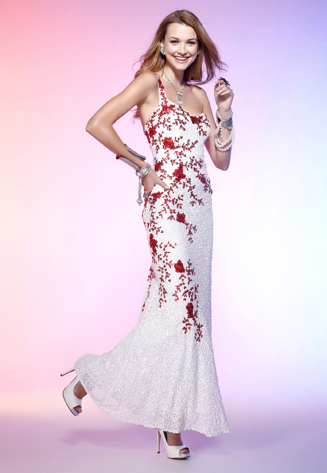 Scala 2012 red and ivory long prom dress 4127