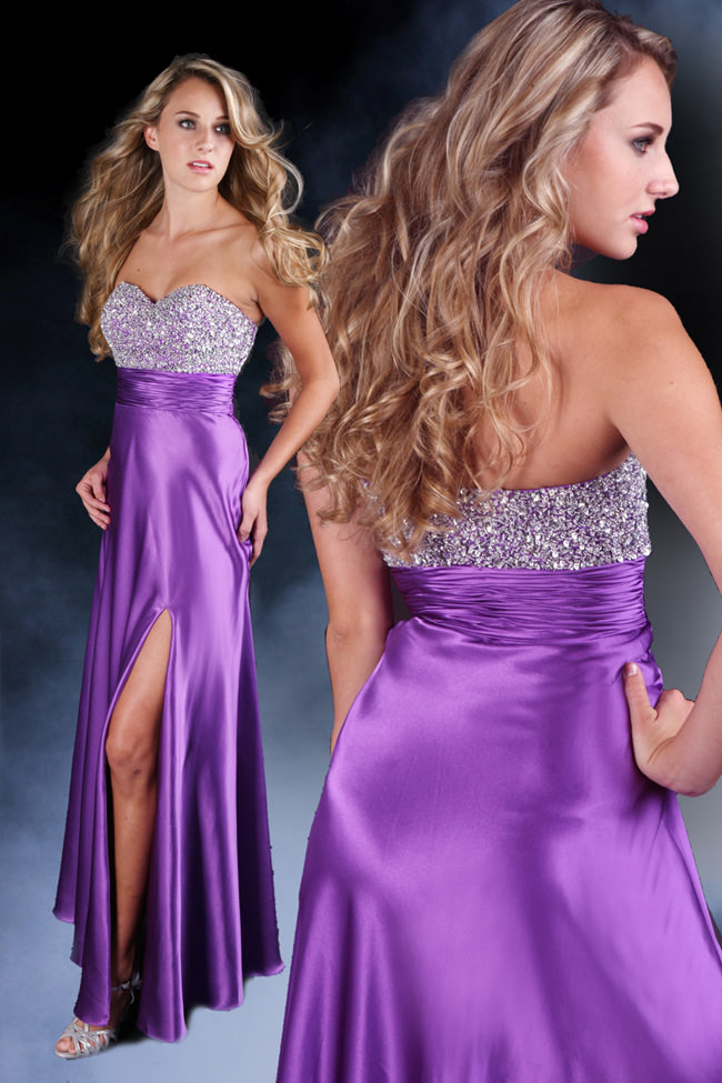 2012 Purple Sparkle Long Strapless Prom Dress 71056