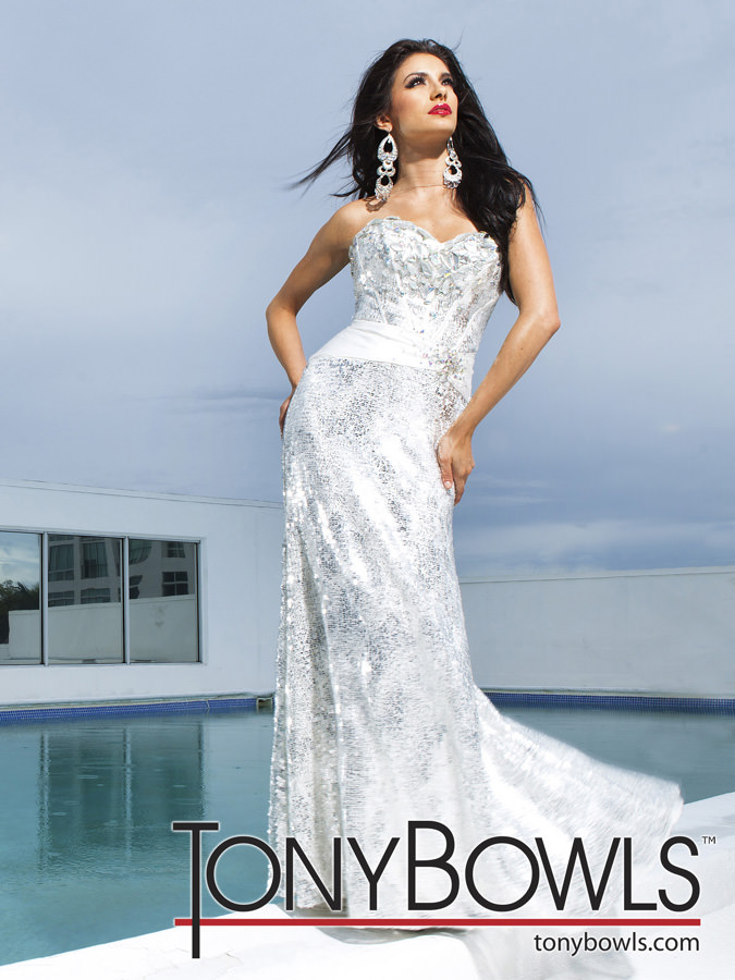 Tony Bowls 2012 Ivory/Silver Long Prom Gown 11217