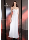 White Alyce Halter Prom Dress 35492