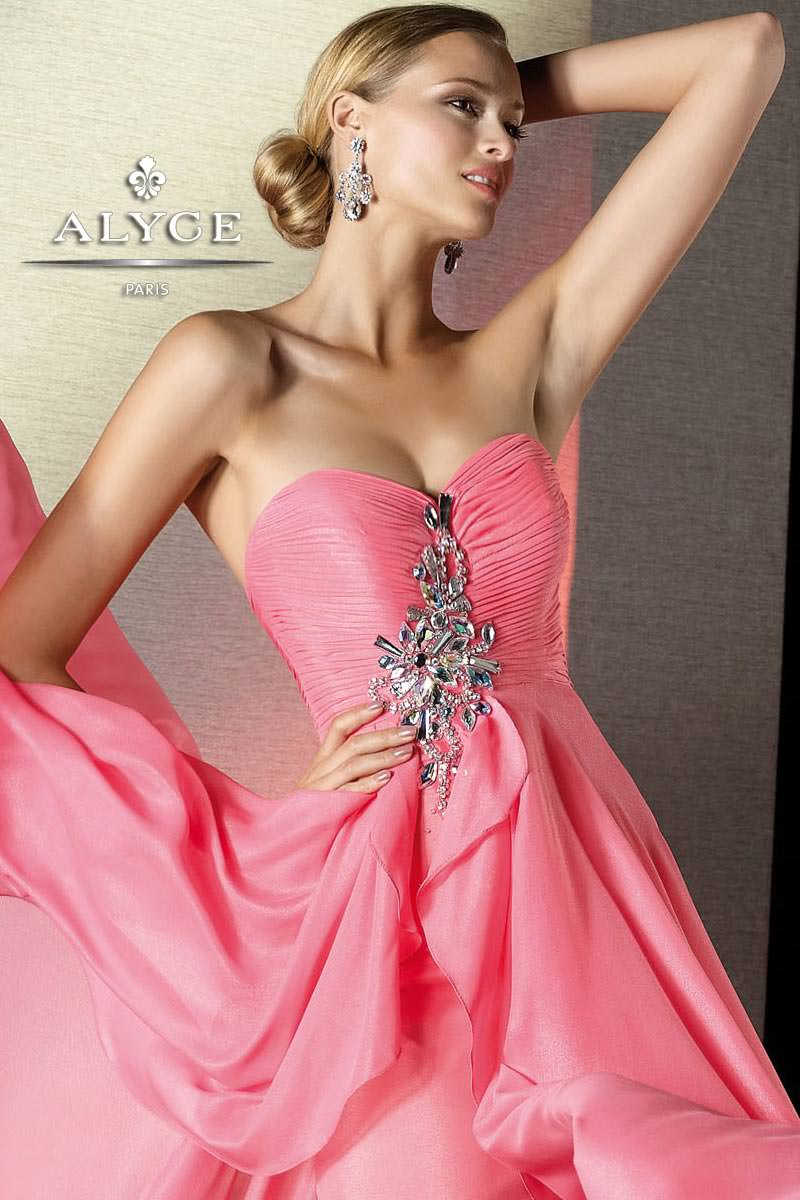 Alyce 2013 Morganite Strapless Sweetheart High Low Chiffon Beaded ...