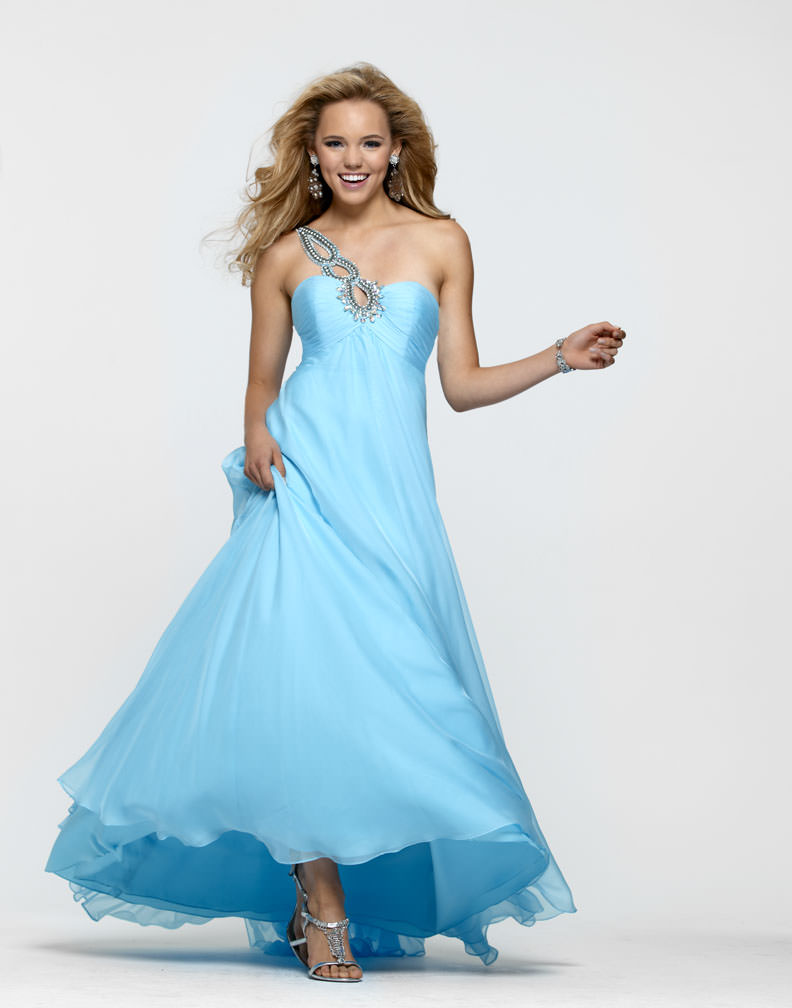 Clarisse 2013 Sky Blue Beaded Sweetheart One Shoulder A-Line Long ...