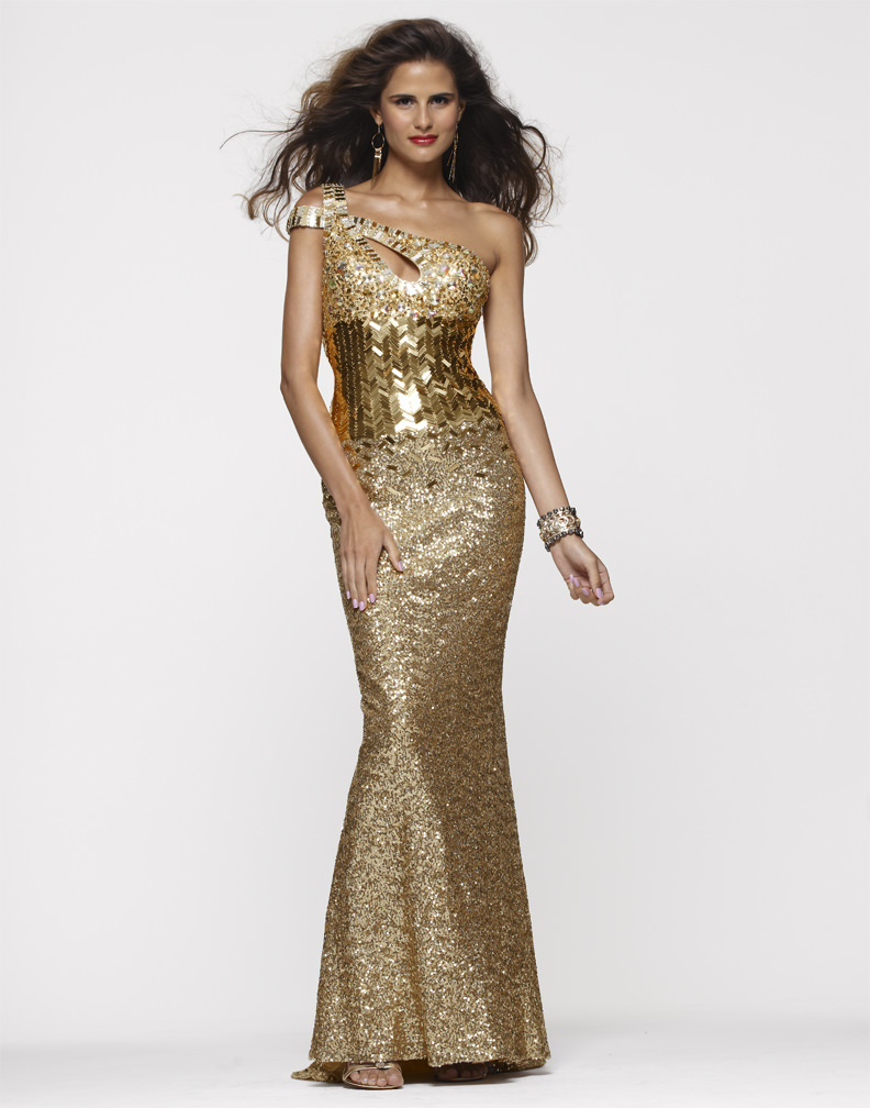 Clarisse 2013 Oscar Gold One Shoulder Prom Dress 2117 | Promgirl.net