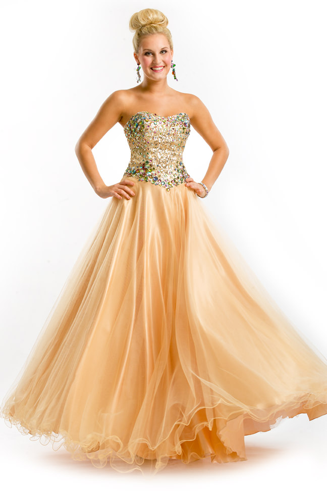 Party Time Formals 2013 Nude Gold Strapless Sweetheart Ball Gown ...
