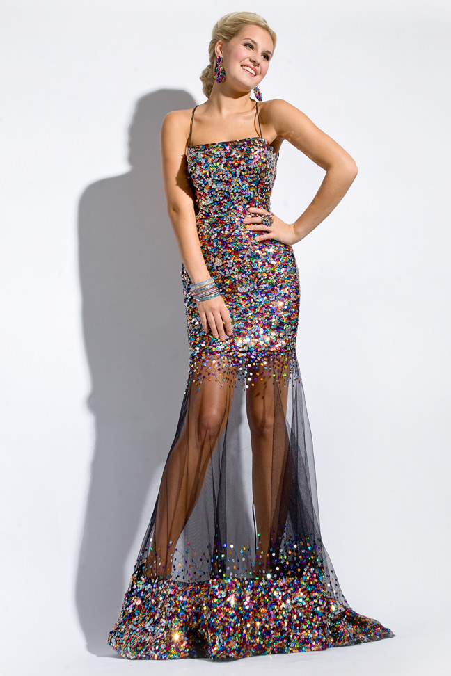 Party Time Formals 2013 Black Multi Beaded Sequin Sheer Prom Dress ...