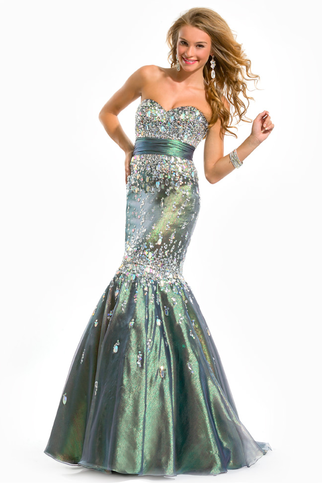 Party TimeFormals 2013 Green Stone Strapless Sweetheart Mermaid ...