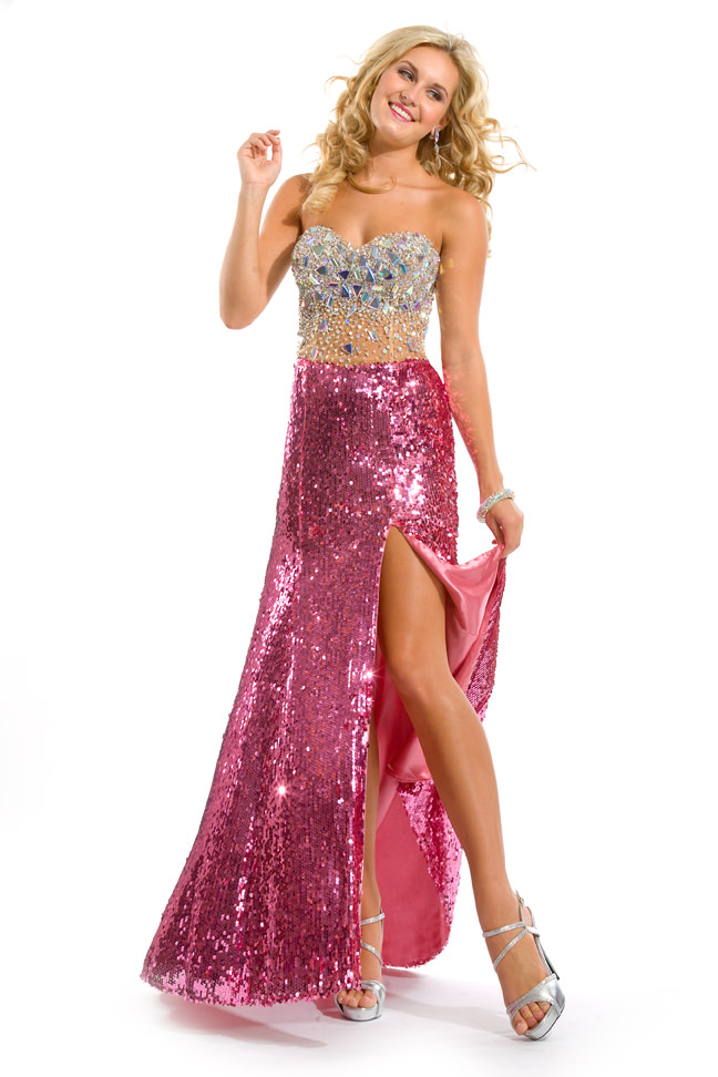 Party Time Formals 2013 Disco Pink Strapless Sweetheart Beaded