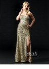 Sean Collection Gold Prom Gown 70624