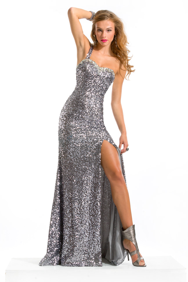 Party Time Formals 2013 Gunmetal Metallic Silver Grey One Shoulder ...