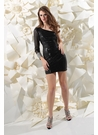 One Sleeve Sequin Sparkle Party Dress 71191