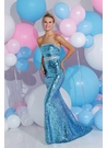 Sparkle Turquoise and Silver Prom Dress 71206