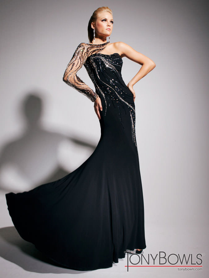 Tony Bowls 2013 Black Long Sequin and Sheer Prom Gown 11315 ...