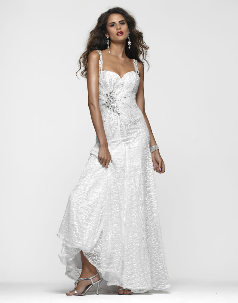 Clarisse 2013 White Sequin Strap Sweetheart Long Flowing Beaded Prom ...