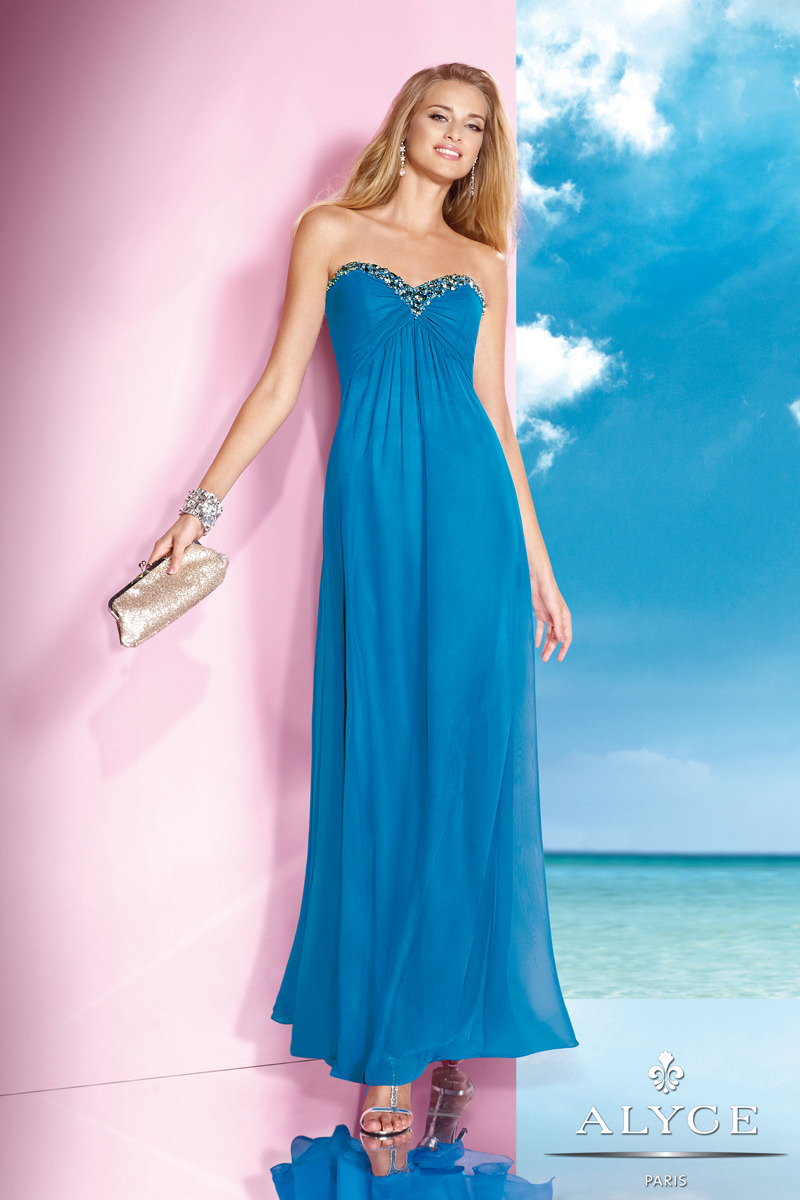Alyce 2014 Deep Water Blue Strapless Sweetheart A-Line Long Prom ...