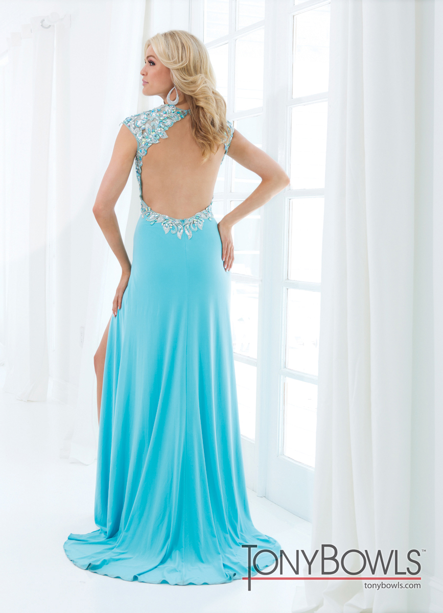 Tony Bowls 2014 Red Pink Turquoise Blue V-Neck Beaded Open Back ...