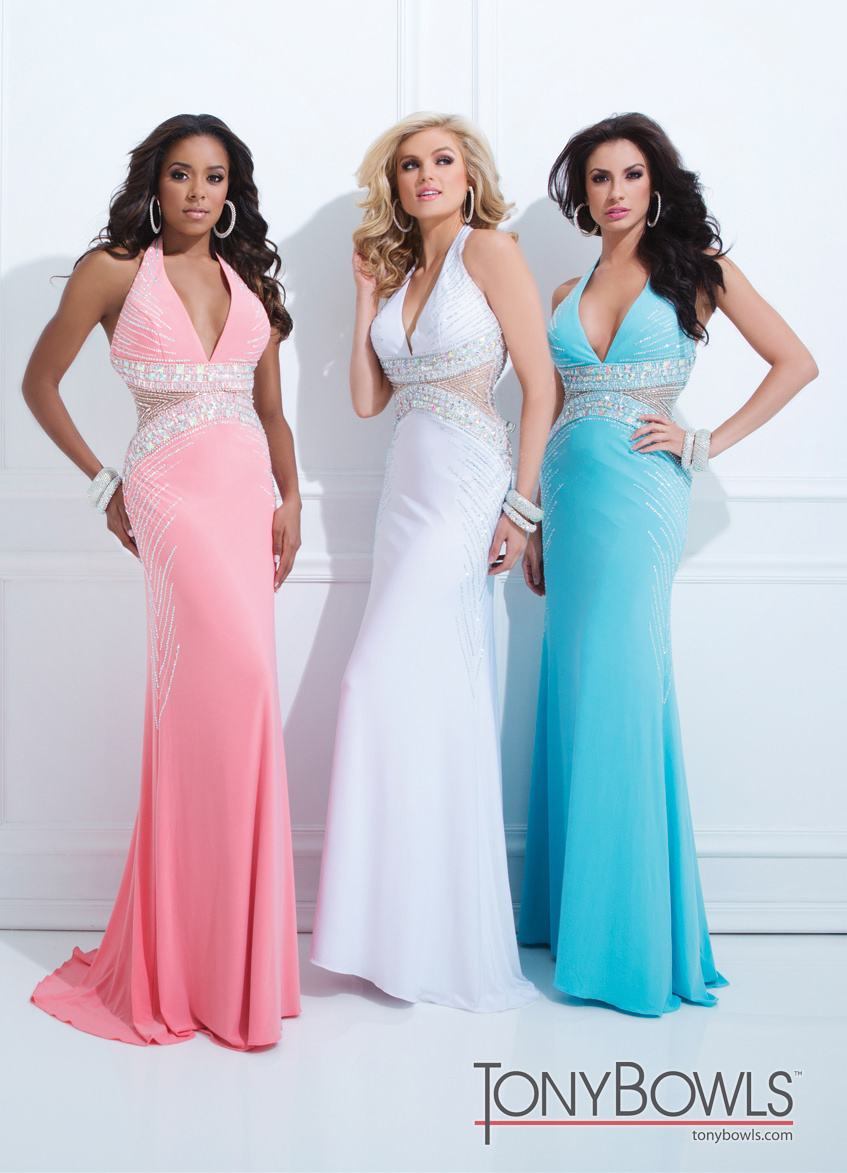 Tony Bowls 2014 Coral White Blue Halter Cut Out Prom Dress 114747 ...
