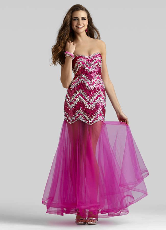 Clarisse 2014 Pink Fuchsia Lime Strapless Sequins Prom dress 2301 ...