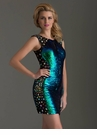 Green Iridescent Sequin Homecoming Dress 2490