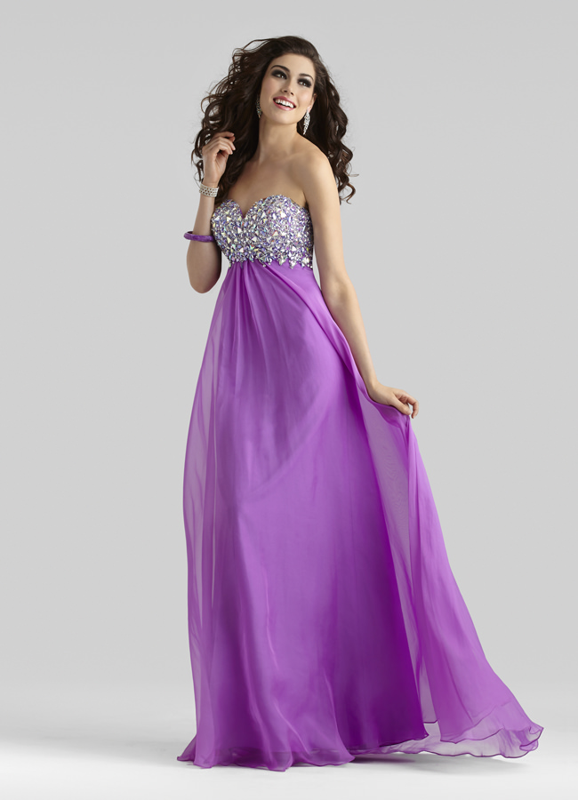 Clarisse 2014 Orchid Strapless Sweetheart Beaded A-Line Chiffon Prom ...