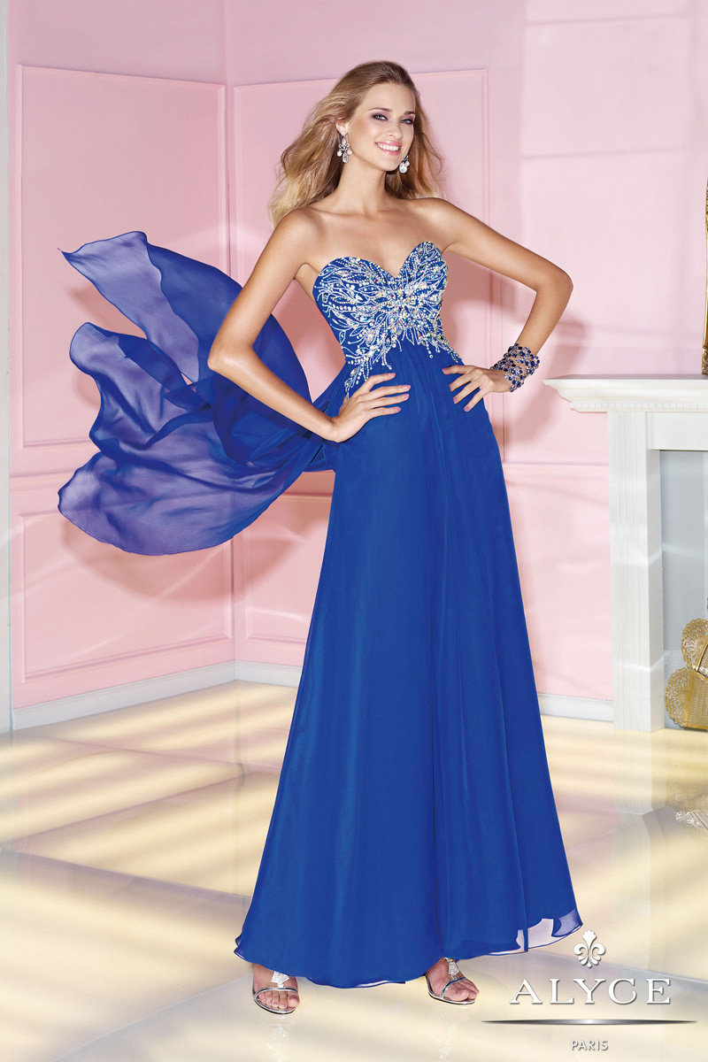 Alyce 2014 Sapphire Blue Strapless Sweetheart Beaded Flowing Prom ...