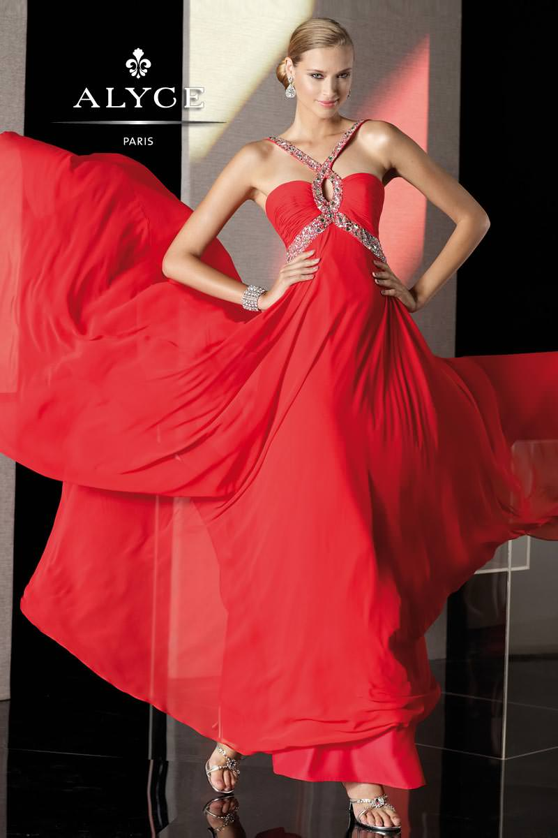 Alyce 2013 Red Long Halter Beaded Key Hole Prom Gown 35515 ...