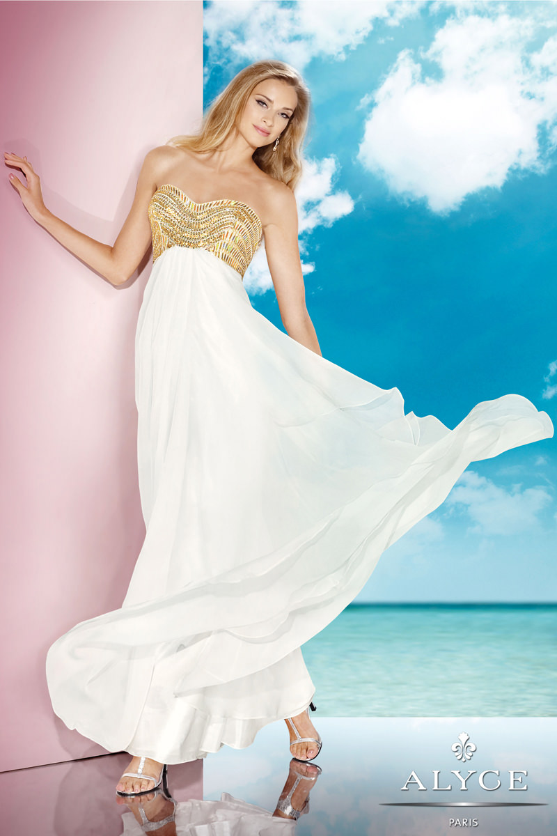 Alyce Ivory Gold Strapless Semi Sweetheart Long A-Line Prom Gown ...