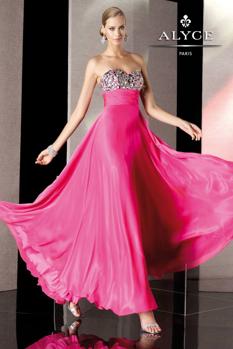 Alyce 2013 Hot Pink Strapless Beaded Long Prom Gown 35510 | Promgirl.net