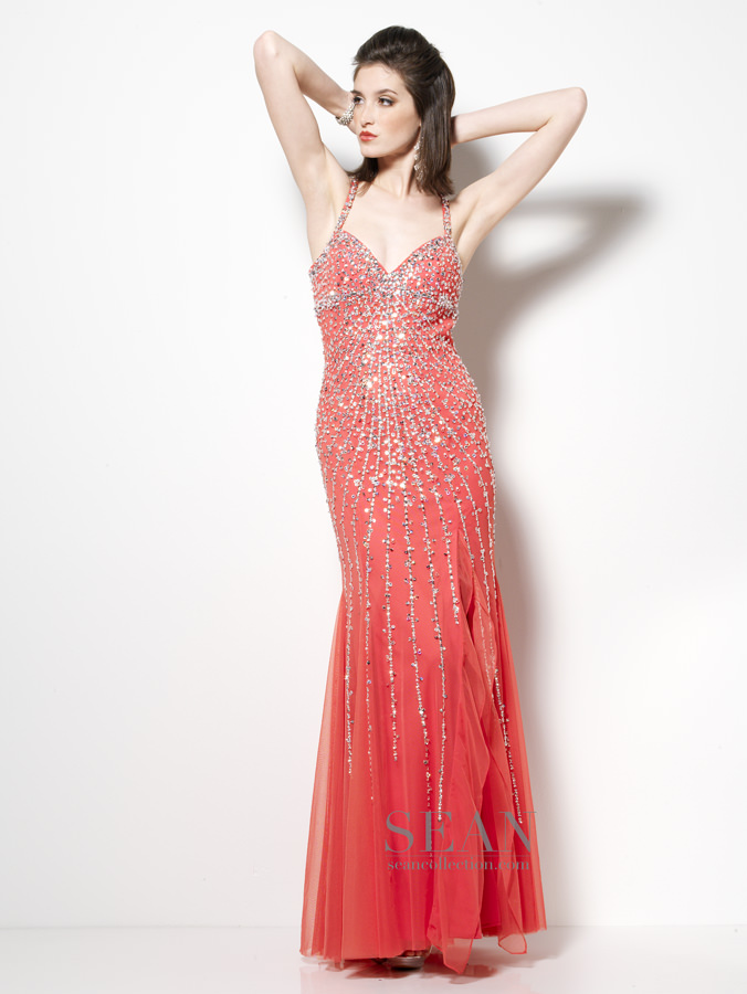 Sean Collection 2013 Watermelon and Champagne Halter Beaded Prom ...