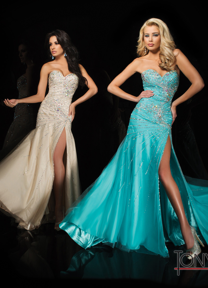 Tony Bowls 2014 White Champagne Nude Aqua Blue Beaded Long Prom ...