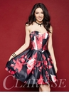 Black and Red Floral Homecoming Dress 3312