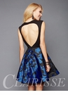 Black and Royal Floral Homecoming Dress 3328