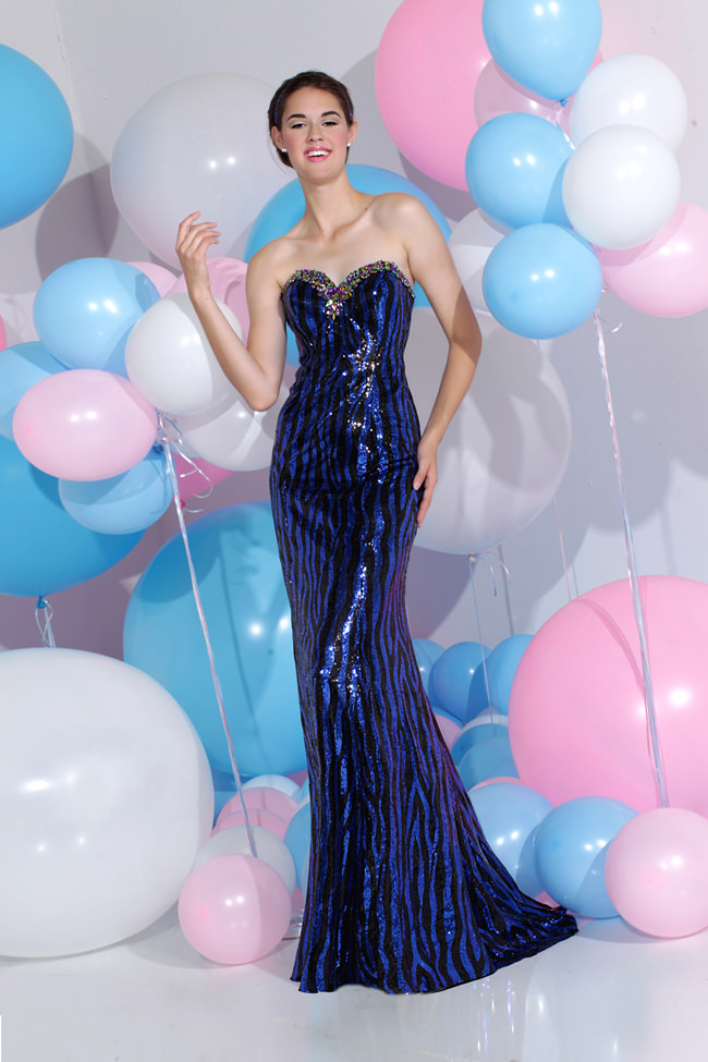 Sparkle 2013 Black And Royal Blue Strapless Sweetheart Sequin Beaded