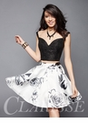 Black and White Two Piece Homecoming Dress 3316