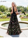 Black Floral Embroidered Prom Dress 3565 | 3 Colors
