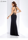 Black Lace Trim Fitted Prom Dress 3446