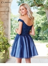 Blue Off The Shoulder Short Dress 3464
