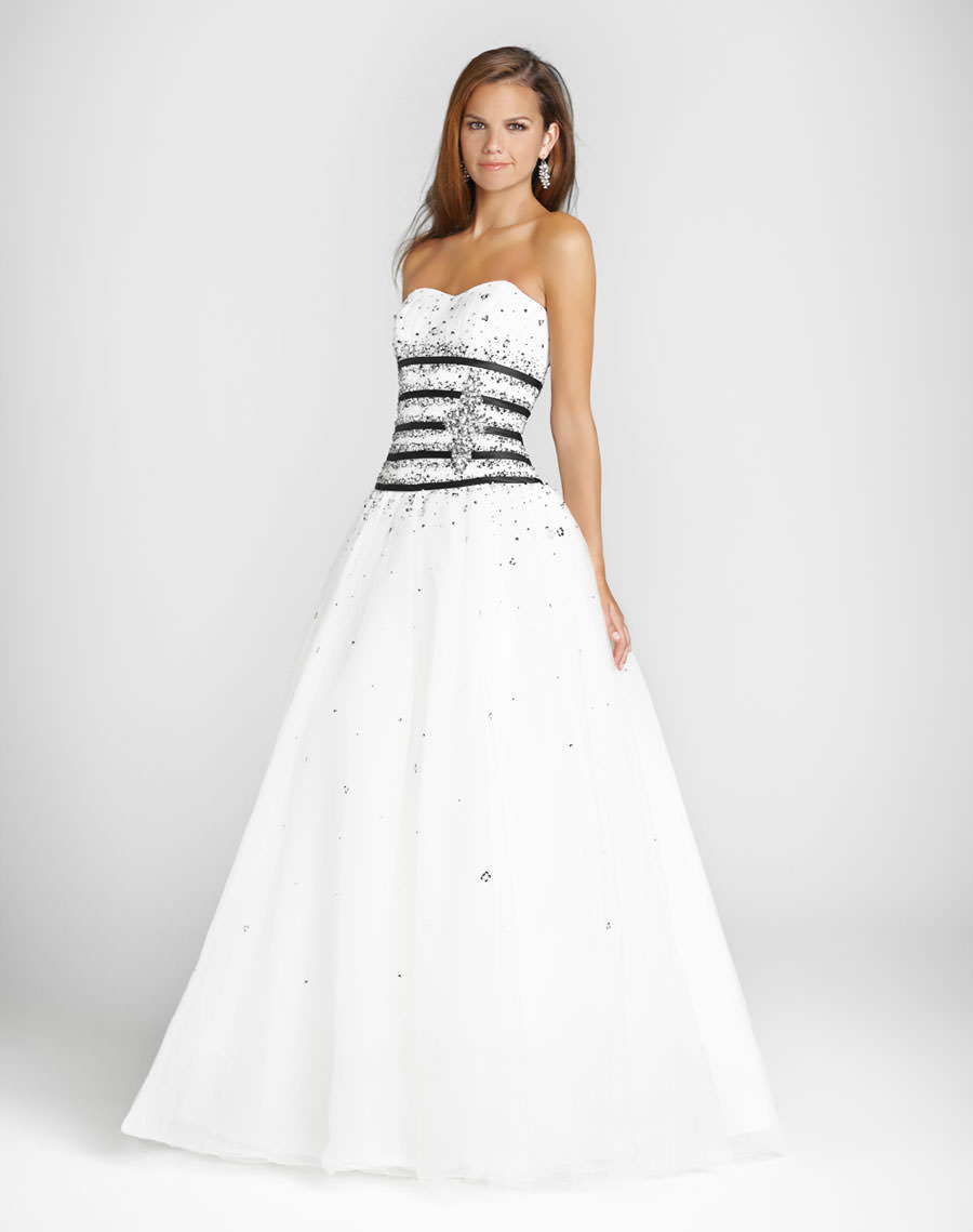 Blush Prom Dress 5030 White and black ball gown | Promgirl.net