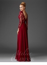 Burgundy Lace A-line Evening Gown M6429