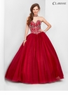 Burgundy Strapless Ball Gown 3550