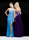 One Shoulder Long Blue Prom Gown 2385