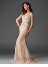 Champagne Beaded Lace Evening Gown M6427