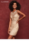 Champagne Fitted Beaded Homecoming Dress 3615